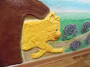 «Рыжий кот из трубы»: делаем барельефное панно для оформления детской комнаты. Ярмарка Мастеров - ручная работа, handmade.