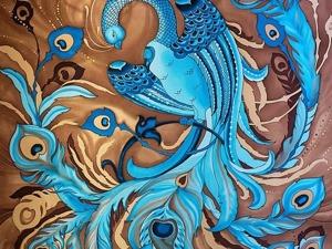 Роспись платка «Птица счастья» в технике холодного батика. Ярмарка Мастеров - ручная работа, handmade.