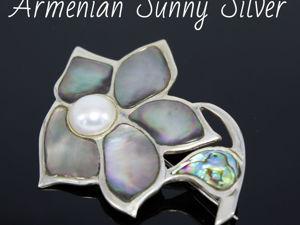 Брошь-булавка: Цветок из серебра 925 пробы, жемчуга и абалона. Ярмарка Мастеров - ручная работа, handmade.