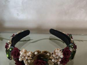 Ободок  « Розы и оливки ». Ярмарка Мастеров - ручная работа, handmade.