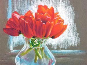 Рисуем пастелью. Весенний натюрморт с красными тюльпанами на окне. Ярмарка Мастеров - ручная работа, handmade.