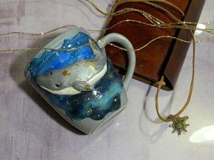 Декор кружки полимерной глиной: лепим космического кита. Ярмарка Мастеров - ручная работа, handmade.