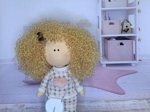 Как пришить волосы в жгутах текстильной кукле. Ярмарка Мастеров - ручная работа, handmade.
