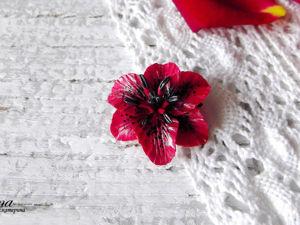 Видео мастер-класс: брошь «Черно-красная лилия» из полимерной глины. Ярмарка Мастеров - ручная работа, handmade.