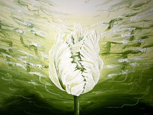 Интерьерная картина с цветущим тюльпаном  « Музыка весны » . Ярмарка Мастеров - ручная работа, handmade.