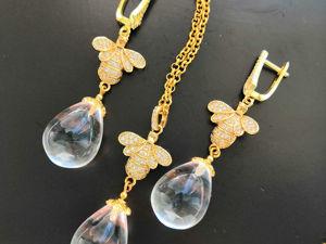 К серьгам пчелкам можно заказать кулон, а так же выполнить их в серебренном цвете!. Ярмарка Мастеров - ручная работа, handmade.