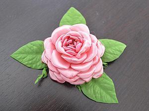 Делам розовый цветок из лент на плоской основе. Ярмарка Мастеров - ручная работа, handmade.