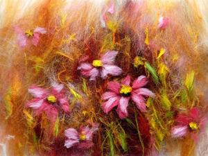 Видео мастер-класс: создаем картину из шерсти «Розовые цветы». Ярмарка Мастеров - ручная работа, handmade.