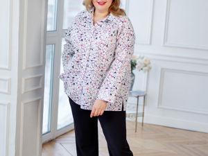 Рубашка из Итальянского хлопка с лёгким цветочным принтом в размере Plus Size. Ярмарка Мастеров - ручная работа, handmade.