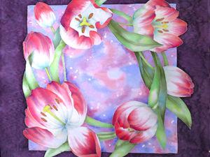 Расписываем шелковый платок с тюльпанами в технике холодный батик. Ярмарка Мастеров - ручная работа, handmade.