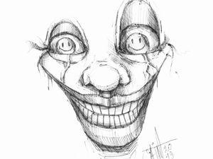 День 230. Набросок ручкой  «Смеющиеся глаза». Ярмарка Мастеров - ручная работа, handmade.