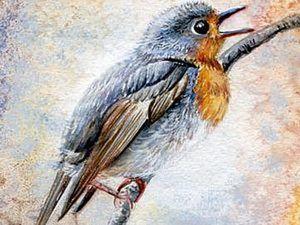 """Птичка на """"соленом"""" фоне. Акварель. Ярмарка Мастеров - ручная работа, handmade."""