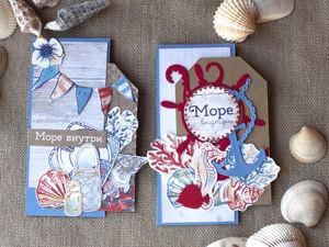 Делаем мини-открытку на морскую тему в формате скраплинг (Scrapling). Ярмарка Мастеров - ручная работа, handmade.