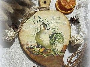 Декупаж для новичков: декоративно-разделочная доска «Olive». Ярмарка Мастеров - ручная работа, handmade.