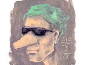 День 334. Миниатюра маслом  «Солнечные очки в серый день» . 35-я работа из серии 50 дней масла. Ярмарка Мастеров - ручная работа, handmade.