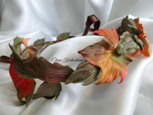 """Шелковый венок """"Осенние листья"""" своими руками. Ярмарка Мастеров - ручная работа, handmade."""