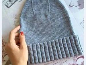 Подробный мастер-класс для начинающих: Вязаная шапка с отворотом спицами. Ярмарка Мастеров - ручная работа, handmade.