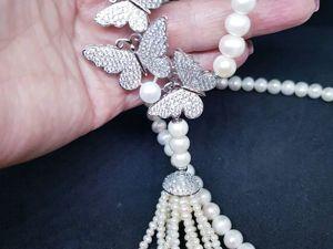 АКЦИЯ!!! Скидка 25% на роскошное жемчужное ожерелье  «Завтрак у Тиффани» !!!. Ярмарка Мастеров - ручная работа, handmade.