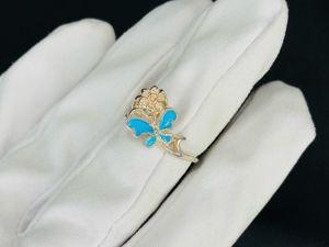 Кольцо серебряное Бабочка с эмалью. Ярмарка Мастеров - ручная работа, handmade.