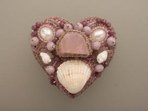 Сердце пиона. Брошь из бисера. Ярмарка Мастеров - ручная работа, handmade.