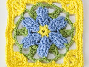 Вяжем красивый квадратный мотив крючком с цветком. Ярмарка Мастеров - ручная работа, handmade.