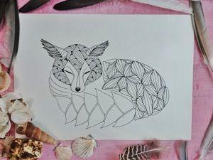 Раскраска в стиле doodling своими руками. Ярмарка Мастеров - ручная работа, handmade.