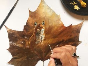 Paintings On Maple Leaves By Janette Rose. Livemaster - handmade
