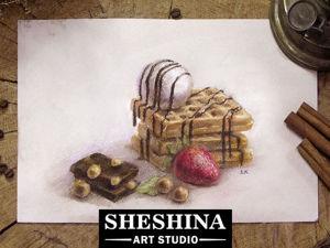 Как нарисовать сухой пастелью вкусные вафли с шоколадом, мороженым и клубникой. Ярмарка Мастеров - ручная работа, handmade.