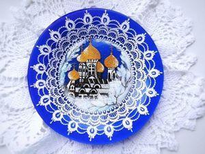 Расписываем декоративную тарелочку к Рождеству. Ярмарка Мастеров - ручная работа, handmade.