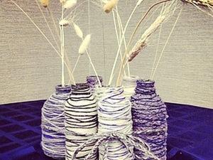 Уютные зимние вазочки из стеклянных бутылок. Ярмарка Мастеров - ручная работа, handmade.