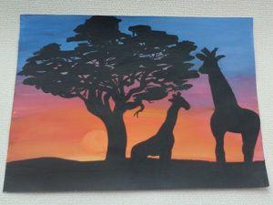 Видеоурок: рисование жирафов в саванне без карандаша. Ярмарка Мастеров - ручная работа, handmade.