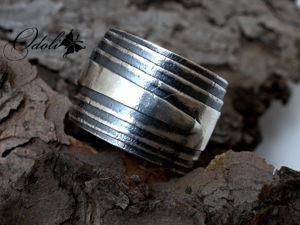 Широкое серебряное кольцо. Ярмарка Мастеров - ручная работа, handmade.