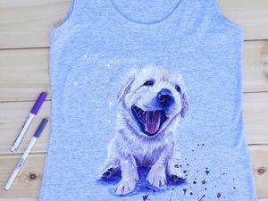 2 футболочки с ручной росписью и доставкой всего 2000 руб!!. Ярмарка Мастеров - ручная работа, handmade.
