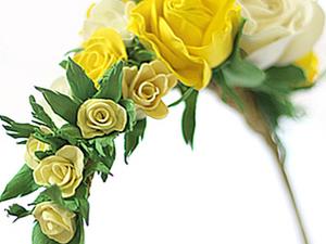 Цветы из фоамирана на ободке. Ярмарка Мастеров - ручная работа, handmade.