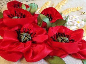 Вышиваем цветок мака атласными лентами. Ярмарка Мастеров - ручная работа, handmade.