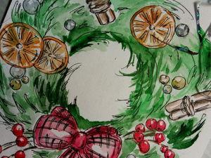 Нарисуем рождественский венок. Запоздалый фотоурок. Ярмарка Мастеров - ручная работа, handmade.