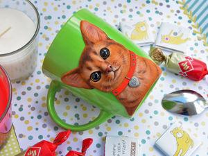 Декорируем кружку кошкой из полимерной глины. Ярмарка Мастеров - ручная работа, handmade.