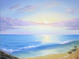 Создаем авторскую картину маслом «Утренняя лазурь». Ярмарка Мастеров - ручная работа, handmade.