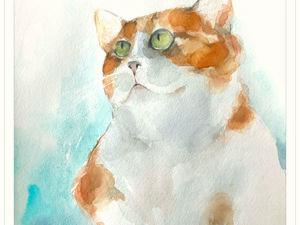 Рисуем акварелью ну очень забавного кота. Ярмарка Мастеров - ручная работа, handmade.