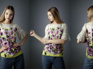 Блузки: Сакура в цвету, с принтом ручной работы. Ярмарка Мастеров - ручная работа, handmade.