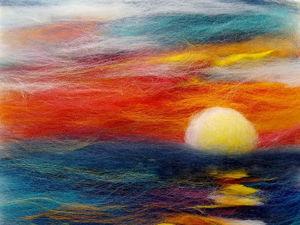 Видео мастер-класс: создаем картину из шерсти «Закат над морем». Ярмарка Мастеров - ручная работа, handmade.