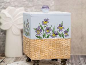 Мастер-класс: кухонный короб с росписью нежной фиалки и имитацией плетеной корзинки. Ярмарка Мастеров - ручная работа, handmade.