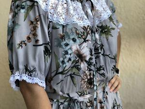 Платье с кружевом Японский сад. Ярмарка Мастеров - ручная работа, handmade.