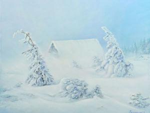 """Пишем зимний пейзаж """"Метелица"""". Ярмарка Мастеров - ручная работа, handmade."""