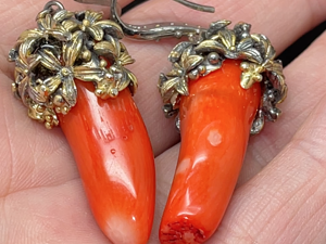 Серьги с кораллом красным серебряные. Ярмарка Мастеров - ручная работа, handmade.