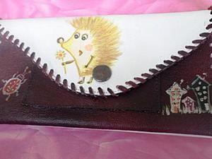 """Делаем кошелёк """"Весёлый ёжик"""" из старого кожаного плаща. Ярмарка Мастеров - ручная работа, handmade."""
