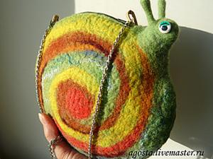 """Валяная летняя сумочка """"Улитка"""". Ярмарка Мастеров - ручная работа, handmade."""