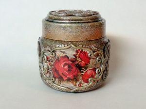 Декорированная баночка для кофе, чая, специй. Бархатные розы. Ярмарка Мастеров - ручная работа, handmade.