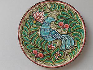 Мастер-класс по точечной росписи тарелочки «Синяя птица». Ярмарка Мастеров - ручная работа, handmade.