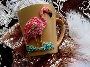 Decorating Mug with Polymer Clay in ''Oil Painting'' Technique: Flamingo. Livemaster - handmade